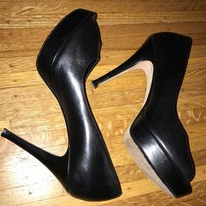 Cole Haan platform peep toe pumps